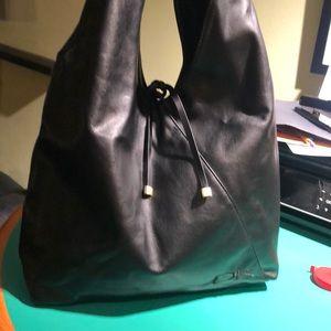Donna Karan Black Large Monogrammed Shoulder Bag